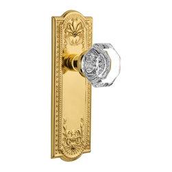 Nostalgic - Nostalgic Passage-Meadows Plate-Waldorf Knob-Polished Brass (NW-704398) - Meadows Plate with Waldorf Knob with Keyhole - Passage