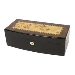 Townsend Jewelry Box - The Townsend Jewelry Box has an understated elegance that appeals to everyone. This jewelry box blends the classic with the contemporary. Made of burlwood with Italian inlay it features a unique blend of light and dark woods with a high-gloss finish. The Townsend Jewelry Box is real luxury at an everyday price. (Please click on image to enlarge and view additional photos.)