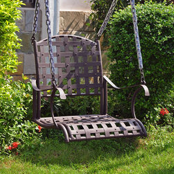 International Caravan - International Caravan Santa Fe Nailhead Single Seat Swing - This stylish garden swing from Santa Fe provides you with the perfect way to relax outside. The matte brown swing is resistant to poor weather and constructed of strong steel,so you can have confidence that it will last for years to come.