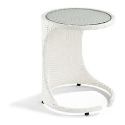 Frontgate - Madrid White Round Slider Table - Bright white fibers. Handwoven premium resin wicker. Rust-resistant powdercoated frame. Glass top is set securely into the woven form. With a sturdy base that slides underneath a sofa, love seat, or lounge chair, our glass-topped, bright white wicker Madrid Round Slider Table is the perfect perch for your laptop, a cup of tea, or a game of cards.  .  .  .  .