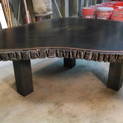 """Concrete wood table top - Custom bar table for sale for residential or commercial space, built out of concrete to replicate a slice of walnut. Sealer of choice will be applied once ordered, hi-gloss or matte. This one is roughly 36"""" wide and 2"""" thick. will deliver within 50 miles of Denver for free."""