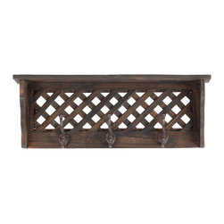 Urban Trends Collection - Antique Black Small Wooden Shelf/ Coat Hanger - This useful combination shelf and coat rack is a practical and distinctive piece of home decor. Made of wood,it has an attractive black finish.