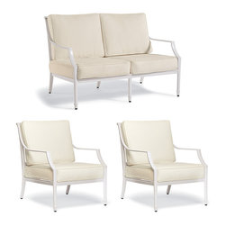 Frontgate - Grayson 3-pc. Outdoor Loveseat Set in White Finish, Patio Furniture - Crafted of 100% ingot aluminum. Solid cast back details. Sofa, Loveseat, and Lounge Chair arrive with plush, all-weather back and seat cushions. Cushions are constructed of a high-resiliency foam core with soft polyester wrap. Finished with 100% solution dyed fabric covers that resist mold, mildew and fading. The perfect garden party. That's what Grayson calls to mind. This timeless seating collection is elegant without being fussy, with a high lattice back and airy design that are achieved in solid cast aluminum. Made to endure season after season with hand-filed welds, a durable powder coated finish and all-weather cushions.  .  .  .  .  . Seating includes adjustable foot glides . Glossy White Finish . Designed exclusively for Frontgate . Imported.