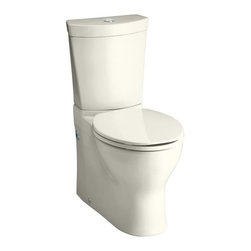 "KOHLER - KOHLER K-3654-96 Persuade Two-Piece Elongated Toilet with Dual Flush Technology, - KOHLER K-3654-96 Persuade Two-Piece Elongated Toilet with Dual Flush Technology, Less Seat in BiscuitThe Persuade two-piece toilet offers a contemporary design highlighted by the skirted trapway.  This compact elongated model features Dual Flush technology, which includes a 1.6 gpf and also an eco-friendly, 0.8-gallon flush option.  The Persuade toilet can save as much as 6,000 gallons of water annually over a traditional 1.6-gallon toilet.Please see our Delivery Notes for Freight Shipments for products that are oversized and/or are too heavy to ship UPS ground. KOHLER K-3654-96 Persuade Two-Piece Elongated Toilet with Dual Flush Technology, Less Seat in Biscuit, Features:• 27-5/8"" L x 14-3/16"" W x 31-1/2"" H"