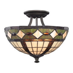 Design Classics Lighting - Semi-Flushmount Light with Tiffany Glass in Bronze Finish - 1617 TB - Tiffany bronze 3-light indoor ceiling light. Takes (3) 100-watt incandescent A19 bulb(s). Bulb(s) sold separately. UL listed. Dry location rated.