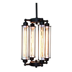 WestMenlights - Cube Cage Long Pendant Lamp - Materials: Vintage Iron, Aged Steel