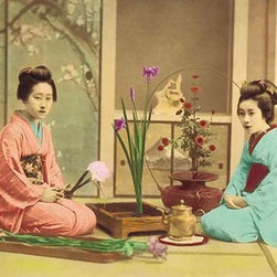 "Buyenlarge.com, Inc. - Arranging Flowers - Gallery Wrapped Canvas Art 12"" x 18"" - Two girls in kimono, obe and sashes arrange flowers as Ikebana in the Japanese Tradition"