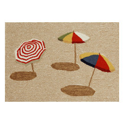 "Trans-Ocean - Beach Umbrella Natural Rugs 1409/12 - 24""X36"" - Richly blended colors add vitality and sophistication to playful novelty designs.Lightweight loosely tufted Indoor Outdoor rugs made of synthetic materials in China and UV stabilized to resist fading.These whimsical rugs are sure to liven up any indoor or outdoor space, and their easy care and durability make them ideal for kitchens, bathrooms, and porches."