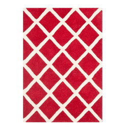 Safavieh - Courtney Hand Tufted Rug, Red / Ivory 2' X 3' - Construction Method: Hand Tufted. Country of Origin: India. Care Instructions: Vacuum Regularly To Prevent Dust And Crumbs From Settling Into The Roots Of The Fibers. Avoid Direct And Continuous Exposure To Sunlight. Use Rug Protectors Under The Legs Of Heavy Furniture To Avoid Flattening Piles. Do Not Pull Loose Ends; Clip Them With Scissors To Remove. Turn Carpet Occasionally To Equalize Wear. Remove Spills Immediately. A timeless quatrefoil motif makes a global design statement in the subtle but sophisticated Desai area rug. These stunning hand-tufted wool rugs are crafted in India to recreate the elegant look of hand-knotted carpets for today's lifestyle interiors.