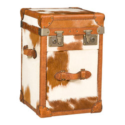 Hooker Furniture - Hooker Furniture Drawer End Table TR101-085 - Leather: Brown and White