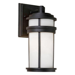 Artcraft Lighting - Artcraft Lighting Columbia Transitional Outdoor Wall Sconce X-KB0808CA - From the Columbia Collection, this ArtCraft Lighting outdoor wall sconce features a mission/craftsman inspired design with clean lines and finishes that are sure to compliment a variety of architectural styles. The clean tones of the white glass shade accentuate the dark tones of the contrasting Black finish that completes the look.