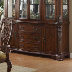 "Coaster - Andrea Buffet Only, Brown Cherry - The impressive Andrea dining collection features rich carvings and fine accents. This large table group features a counter height table with a leaf that extends the table to accommodate extra guests. Matching china cabinet features three storage drawers with felt lining and cabinets with accent lighting on the top. Chairs have fabric cushioned seating. The collection is finished in a brown cherry tone and crafted from poplar solids and cherry veneers.; Traditional Style; Brown Cherry Finish; Dimensions: 70.50""L x 22""W x 33.50""H"