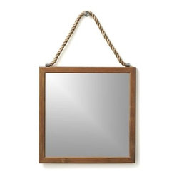 Emilio Wall Mirror - Simply styled wood-framed mirrored square gets a casual lift from its chucky rope and decorative knob. It's all to add drama, because the hooks on the back of the frame do the actual work of securing the mirror to the wall.