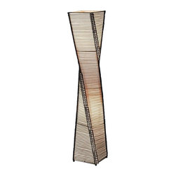 Adesso - Adesso Stix Floor Lantern - The frame of each Stix lamp in this collection is a twisting black metal tower. On either side of each corner a thin vertical cane rod is connected to the frame top and bottom. Thin black cane sticks are stacked and woven on each end to those vertical rods, resulting in the appearance of a stick tower. The share are lined with a fabric-like beige paper. Has ball feet at corners. Foot step switch. Takes 2x60 Watt incandescent or 13 Watt CFL bulbs. 50 in Height, 9 in Square