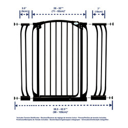 """Dreambaby - Dreambaby Chelsea Xtra Tall Swing Close Gate Combo Pack, Black - Dreambaby® Extra-Tall Swing closed gate is extremely versatile.  Keep your child safer by preventing access to areas of potential danger.  The extra-tall height is especially good for use with stairs. With easy close feature and its double locking system, this attractive pressure mounted gate is easy to install. With your Dreambaby® gate you can feel peace of mind knowing your child is safer. Versatile indeed, it will fit openings of 28""""-32"""" on its own or with the included extensions (1 x 3.5"""" and 1 x 7"""") it can be increased to fit up to 42.5"""". Additional extensions sold separately for wider spaces. Two extensions may be used per side to each a maximum of 121."""" This Dreambaby® pressure-mounted gate is easily installed and for most situations there is no need to screw holes into woodwork or walls unless used at the top of stairs where the mounting cups must be screwed in to added security. Great for pets too!"""