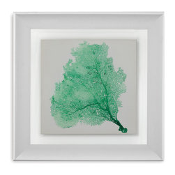 Bassett Mirror - Bassett Mirror Framed Under Glass Art, Sea Fan VII - Achieve a striking marine-inspired look with Sea Fan VII, the seventh installment in the Sea Fan series. Framed beneath glass in a simple gray and white frame, this print depicts a soft Gorgonian coral in vibrant seafoam green. Hang this in your beach style home for a bright pop of color.