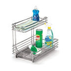 "Household Essentials - Under Sink Organizer 12In - These commercial grade, heavy duty, chrome under sink organizers are easy to install. Reverse mount allows installation to right or left side of cabinet. Glides come fully assembled. Installation requires mounting to a surface with screws (included). The   sliders glide on ball bearings for smooth and effortless operation and allow for full tray extension.        12""W x 14.25""H x 12.75""D"
