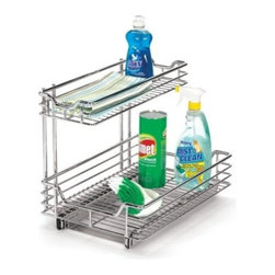 "Household Essentials - Undersink Organizer - These commercial grade, heavy duty, chrome under sink organizers are easy to install. Reverse mount allows installation to right or left side of cabinet. Glides come fully assembled. Installation requires mounting to a surface with screws (included). The   sliders glide on ball bearings for smooth and effortless operation and allow for full tray extension.        12""W x 14.25""H x 12.75""D"