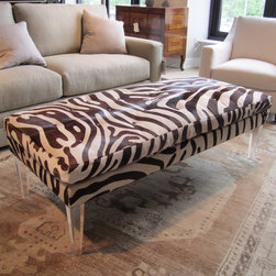 Bradley Ottoman In Zora Hide - Animal print and lucite. I love this.
