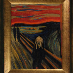"overstockArt.com - Munch - The Scream - Hand painted oil reproduction of the Munch masterpiece, The Scream. The original painting was created in 1893. Today it has been carefully recreated detail-by-detail, color-by-color to near perfection. Edvard Munch's famed 1895 pastel of ""The Scream"" sold for a record breaking $119.9 million on May 2nd, 2012, becoming the world's most expensive work of art ever to sell at auction. Norwegian artist Edvard Munch was one of the more gifted painters of our time. As a painter, Munch played a major role in the development of German Expressionism. Throughout his career, Munch's paintings and print work covered dark themes such as sickness, misery and death. His masterpiece, The Scream, remains as an icon of existential torment. This work of art has the same emotions and beauty as the original. Why not grace your home with this reproduced masterpiece? It is sure to bring many admirers!"