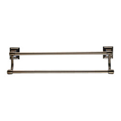 """Top Knobs - Stratton Bath 18"""" Double Towel Rod - Brushed Bronze - Length - 20"""", Projection - 5 3/4"""", Center to Center - 18"""", Bar Stock Diameter - 5/8"""" Base Diameter - 2"""" w (x) 2 1/2""""  h"""