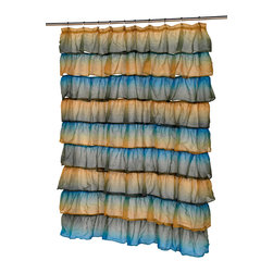 """""""Carmen"""" Polyester Shower Curtain in Umber Print - """"Carmen"""" Umber ruffled tier 100% polyester fabric shower curtain, size 70""""x72"""". Our """"Carmen"""" Crushed Voile, Ruffled Tier Shower Curtain will surely bring a romantic """"shabby chic"""" feel to any home. This Standard-Sized (72' l' x 70' 2'), is made of hand sewn, 100% polyester and is machine washable. Here in a multi-colored Umber print, """"Carmen"""" is available in a variety of colors and styles.     Machine wash in warm water, tumble dry, low, light iron as needed"""