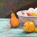 Still Life White Bowl (Original) by Karen Ann Victoria O'Brien - Painterly still life with yellow pears and turquoise ground.