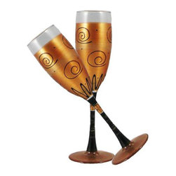 Gold Curl Champagne Glasses  Set of 2 - This lovely hand painted champagne flute is a beautiful gold and adorned with curls and dots.  Something to be handed down from generation to generation.  Proudly hand painted in the USA.