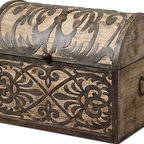 Uttermost - Uttermost Abelardo Rustic Wooden Box 19709 - Lightly stained rustic wood with ornate wrought iron metal details. Hinged lid provides easy access for storage.