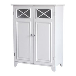 Elegant Home Fashions - Dawson Floor Cabinet With Two Doors - The Dawson Floor Cabinet with Two Doors from Elegant Home Fashions comes in a white finish. This floor cabinet blends old-world and contemporary styling for a charming look that complements any bathroom. The cabinet design offers ample storage. The cabinet features one fixed and one adjustable shelf that are ideal for storing items of different sizes.  The crisscross accent on the door's glass panels and clear knobs add a charming touch.  This cabinet comes with assembly hardware.