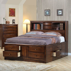 "Coaster - Hillary Eastern King Size Bed - The Hillary Collection is crafted from solid hardwood with Maple veneers. It is finished in warm brown. All drawers have bevelled wood fronts and are accented with brushed nickle hardware.; Transitional Style; Hillary Collection; Walnut finish; The bookcase chest bed features ten usable drawers; Felt-lined drawers in the two drawers located on the bookcase headboard; Some assembly required.; Dimensions: 92.5""L x 77.5""W x 56""H"