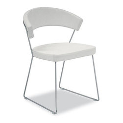 Modloft - Modloft Delancy Leatherette Dining Chairs (Set of 2) - Add a touch of class to your decor with these Delancy dining chairs. A cool combination of steel frame and white reconstituted leather upholstery, these dining chairs are aesthetically balanced with originality and ergonomic design.