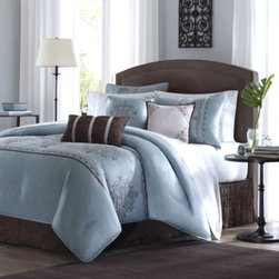 E & E Co., Ltd. - Brussel 7-Piece Comforter Set - With the look of fine silk, the beautiful Brussel bedding adds an air of elegance to your room. The intricately embroidered details add to the luxurious look and feel.