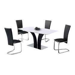 Global Furniture USA - D161DT + D457DC-BL Black & White Fiive Piece Dining Set - Add a contemporary feel to your dining experience with this modern dining room set. This set is sure to catch the eye of your guests and add a modern appeal to your home decor. The table featured in this set offers an interesting table base in black with two pieces molding into one. The table also offers a high gloss finish with a white table top and a black table base. The chairs in this set are upholstered in black to make a strong contrast to the white table top. The dining set includes the dining table and four chairs only.