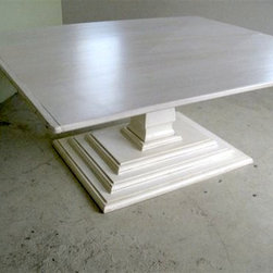 White Square Dining Table With Tiered Pedestal Base - Made by www.ecustomfinishes.com