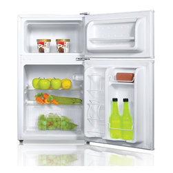 SPT - SPT Energy Star 3.1 cu.ft. Double Door Refrigerator in White - Flush back, compact design is ideal for college dorm room or office. Reversible doors offer versatility. Features separate freezer and fridge compartment, adjustable thermostat and fresh food section.