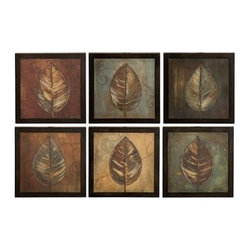 Uttermost - Uttermost 50890 New Leaf Framed Panel Set of 6 - These oil reproductions feature a hand applied brushstroke finish. Frames have a medium brown undertone with heavy black distressing. Each print is 14x14.