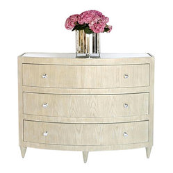 Worlds Away - Worlds Away Natalie Lio limed oak bow front dresser - Elegant glamour is yours when you place this polished piece in your bedroom or vanity area. This gorgeous bowfront dresser comes in limed oak finish with an inset beveled mirror top. The clear round glass knobs with nickel detailing are the perfect feature for this Hollywood Regency piece.