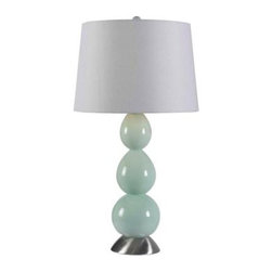 Hampton Bay - Hampton Bay Green Bedside Lamps: Walla 28 in. Green Table Lamp HDP11259 - Shop for Lighting & Fans at The Home Depot. Add an instant splash of color to your room with this attractive lamp. Featuring a stunning stacked globe shape in painted glass, the Walla Table Lamp will be a staple to your casual living environment. The crisp white drum shade completes the look and offers a subtle but trendy and fashionable style that will have the envy of your neighbors.