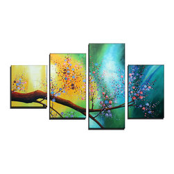 fabuart - Colorful Floral Tree Painting  - 48 x 36in - This beautiful Art is 100% hand-painted on canvas by one of our professional artists. Our experienced artists start with a blank canvas and paint each and every brushstroke by hand.