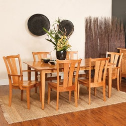 Sedona Amish 7 Piece Dining Table Set - In addition to impressing you with its traditional appeal and excellent Amish craftsmanship the Sedona Amish 7 pc. Dining Table Set will also floor you with its light and airy country design. Whether it's a city townhouse or a suburban estate this set which includes an extendable dining table two dining arm chairs and four side chairs will add plenty of upscale appeal to your dining area with clean lines timeless charm and superior Amish woodworking.Crafted from responsibly harvested cherry hardwood this sturdy dining set sports a beautiful multi-step Chilton finish that adds warmth to any setting. Boasting elegantly tapered legs the table extends from 66 to 90 inches with two 12-inch leaves. This means that even if you have last-minute guests you can easily accommodate them at your table. The chairs' clean lines highlight their light and airy country design while the generous seats and double-slat supportive backs envelop you in comfort encouraging you to linger at the table longer than usual. As fetching as it is functional the Sedona 7 pc. Dining Set is sure to be cherished by your family for years to come.Additional Features:Dining table dimensions: 66-90L x 42W x 30H inchesDining arm chair dimensions (each chair): 25W x 17D x 38H inchesDining side chair dimensions (each chair): 19W x 17D x 38H inchesCountry design with under-bevel table edge and tapered legsSeats 6 peopleMade in AmericaCare and Maintenance:Because most hardwoods are open grained solid wood furniture can be affected by changes in humidity and temperature even after protective finishes have been applied. Care in controlling the furniture's environment will help minimize the minor cracking and warping that is a natural part of the wood's character.Indoor humidity should be kept in the 35 to 40 percent range to minimize these effects. If the humidity moves out of the ideal range solid wood tabletops can expand or contract causing a gap in the center or at the ends where the two halves meet. This is perfectly normal as moisture is absorbed through end grains of wood causing more movement on the ends of the table than in the center. Through change of seasons these changes will occur according to humidity levels. Additionally direct sunlight and fluorescent fixtures that contain ultra-violet rays can cause chemical changes in the wood and finish and should be avoided. Furniture should also be kept away from direct sources of heating and cooling and out of attic or basement storing environments. With proper care solid wood furniture will provide a lifetime of enjoyment and can be passed on to future generations.About Fusion Designs:Backed by decades of experience in the furniture industry Fusion Designs offers some of the best hardwood dining occasional and hospitality furniture in the USA. Committed to maintaining the high standards of quality they are known for Fusion Designs prides itself on a work ethic instilled by generations of craftsmen. Having started off as a simple Amish woodworking shop Fusion Designs has today become a place where the foundation of the American heritage is honored while the pursuit of innovative design ensures scaling even greater heights in customer satisfaction in the future.