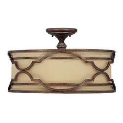 Capital Lighting - Capital Lighting 4053-532 Luciana 4 Light Semi-Flush Ceiling Fixture - Capital Lighting 4053-532 Luciana 4 Light Semi-Flush Ceiling FixtureShowcasing a rustic charm, this transitional semi-flush ceiling fixture features a 22 inch diameter decorative iron work cage with a rich metal finish enclosing a decorative fabric shade and covered on the bottom by a Frosted Glass diffuser. This unique piece will add a touch of elegance to any home.Capital Lighting 4053-532 Features: