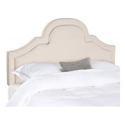 Safavieh - Jeremiah King Headboard - Romantic and refined, the beautifully arched Jeremiah king headboard adds architectural interest to any bedroom in need of a dramatic focal point.  Luxuriously high, this headboard is richly upholstered in soft natural linen in a chic taupe color.