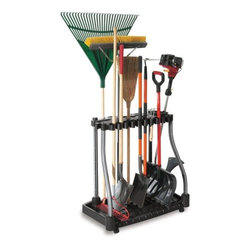 Rubbermaid 5E28 Deluxe Tool Tower Rack With Casters - Organization is not just great inside your home, but outside too. This stand is perfect for corralling all of those large yard tools in the garage.