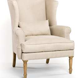 Loire Wingback Chair - Even when you choose traditional forms to compose the seating arrangements in your living room, choose the utmost in quality furniture craftsmanship so you'll have confidence in continuing to admire your classic choice.  The Loire Wingback Chair is a simple armchair on oak spindle legs, its upholstery made from pure linen which is polished on its own, but a perfect canvas for accenting with your pillows or throws if you prefer changeable color.