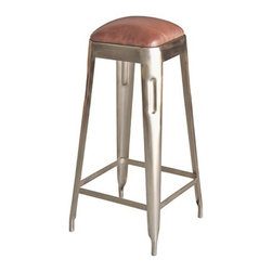 "Sarreid Ltd - Nickel and Leather Stool - Nickel plated iron adds an industrial flavor into this modernized retro inspired stool. Use at counter height or bar height these stools have a warm padded leather seat and are light and petite enough to float where you nee them to. Great in a contemporary space or mix it up by using in your traditional kitchen or bar. (SA) Choose from Counter Height (16"" wide x 16"" deep x 26"" high) or Bar Height (16"" wide x 16"" deep x 30"" high)"