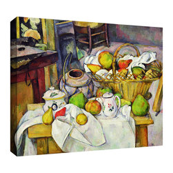 ArtWall - Paul Cezanne 'Still Life with Basket' Gallery-Wrapped Canvas Art - Paul Cezanne 'Still Life with Basket' gallery-wrapped canvas is a high-quality canvas print depicting a table of apples and pears. Shapes and their shadows are studied and colorfully rendered in a post-impressionist style.