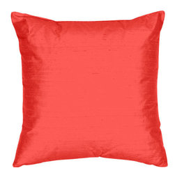 The Silk Group - Crimson 18x18-Inch Silk Dupioni Square Poly Insert Decorative Pillow - - Handcrafted in the USA these decorative pillows are ideal for adding that special finishing touch to any space. Available in over 100 colors several of them can be combined for a grouping of complementary colors or contrasting shades. They feature 100% Grade A Silk Dupioni the finest highest quality most exquisite silk fabric on the market. A high quality knit backing is permanently bonded to the back of the fabrics used in our pillows. The knit backing adds body increased stability and longevity to the pillow. An invisible color-coordinated zipper is discretely placed on the bottom edge of the pillow so both faces of the pillow are able to be displayed. The pillow inserts we use are over-sized so our pillows will always have that desirable high soft and fluffy appearance. Our pillows are available without the insert too if you prefer to use your own. The fabric face has been treated with the most durable and permanent stain moisture and UV repellants available. This provides long lasting protection from water alcohol and oil-based stains as well as resistance from fading and discoloring over time.  - Fill Material: Down  - Dry Clean Only The Silk Group - SQ_Dup_Sol_Crimson_18x18_Poly