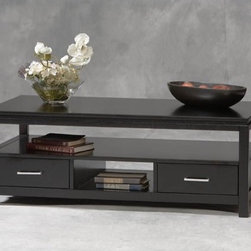 Linon - Sutton Coffee Table - With a sleek black finish and durable MDF construction, the Sutton Black Coffee Table is the perfect addition to a living room or den! This coffee table conveniently has two drawers for enclosed storage for items like magazines, coasters, and more. Above the enclosed storage and below the table top, there is open storage for items that can be displayed or stacked. Would look great with items in the Sutton Collection! Features: -Open storage.-MDF (Medium Density Firberboard) construction.-Black finish.-Sutton collection.-Collection: Sutton.-Distressed: No.Specifications: -2 Drawers.Dimensions: -Overall dimensions: 16'' H x 44'' W x 22'' D.-Overall Product Weight: 78 lbs.