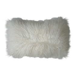 Moe's Home Collection - Moe's Home Lamb Fur Rectangular Pillow in Natural (Set of 2) - Soft furry decorative cushion